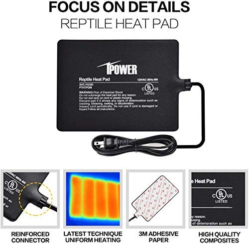 iPower 6 by 8-Inch Reptile Heat Pad and Digital Thermostat Combo ...