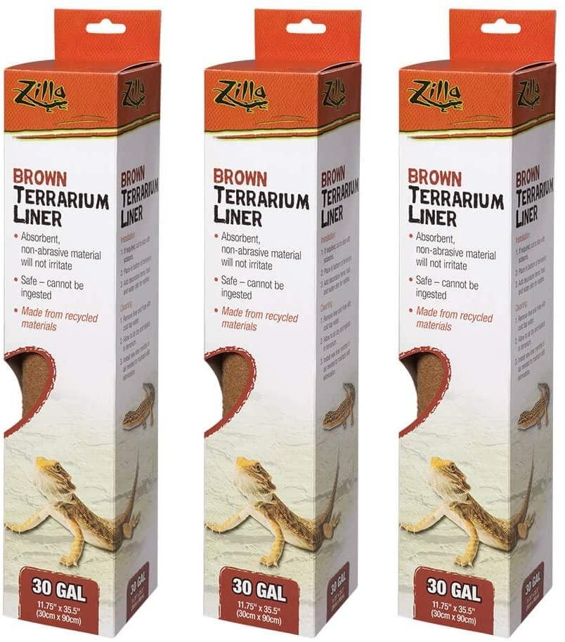 Amazon.com : Zilla Terrarium Liner in Brown [Set of 3] Size: 30 Gallons : Pet Supplies