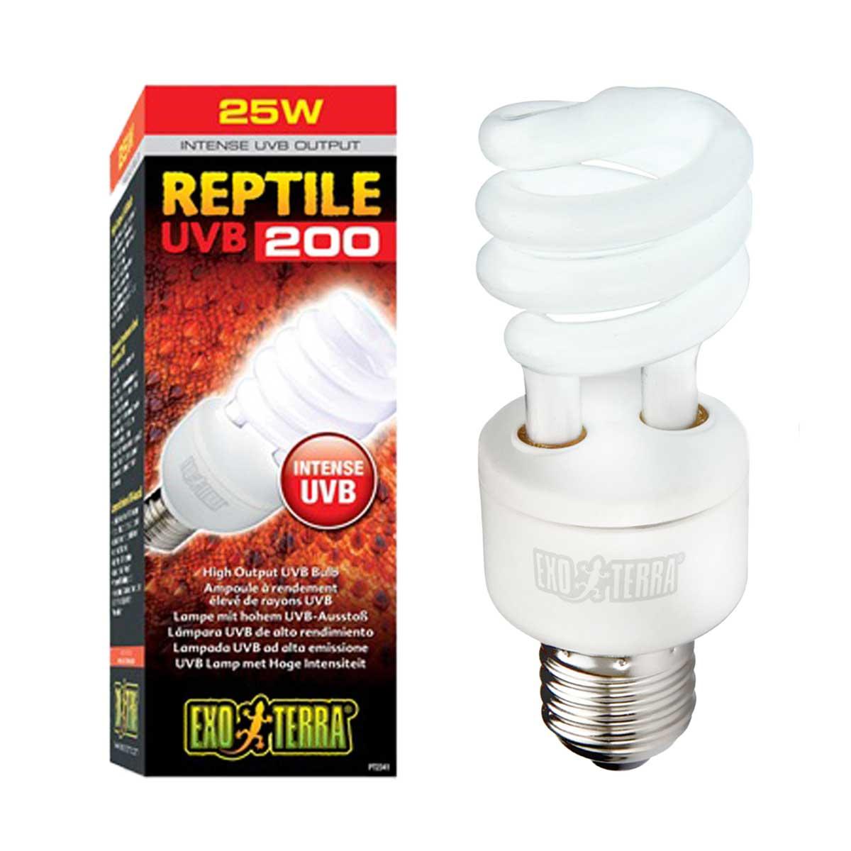 Exo Terra Reptile UVB200 Compact UV Bulb - 25 Watts - Serpentia